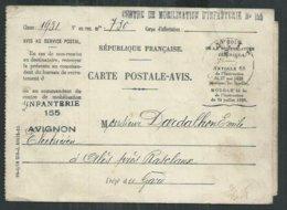 Carte Postale Avis , Centre De Mobilisation D'infanterie Militaire D'Avignon (Vaucluse) Pour Alès (Gard) - Guerres