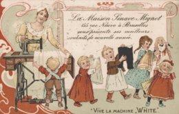 """Illustration - Publicité - Machine à Coudre - Vive La Machine """"White"""" - La Maison Sinave-Mignot à Bruxelles - 2 Scans - Publicité"""