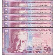 TWN - ARMENIA 41 - 50 Dram 1998 UNC DEALERS LOT X 5 - Armenia