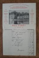 """Facture à Entête Avec Vue Du Café-Restaurant """"A La Bonne Matelote"""", Paul Foret à Olivet (Loiret), Location De Barques - Frankreich"""