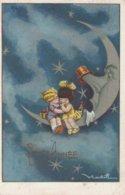 Illustrateur Castelli - Enfants Assis Sur Un Quart De Lune - 2 Scans - Castelli