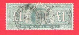 Great Britain Edward VII One Pound Green 1 Livre Vert YT 121 Used Fine Condition Oblitéré Très Beau - 1902-1951 (Könige)