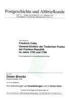 Friedrich Cotta General Direktor D. Teutschen Posten D. Franken Republik - Von Horst Diederichs  (DASV) PgA 153 Aus 2003 - Deutschland