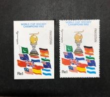 Pakistan 1982 Field Hockey World Champions PROOF ESSAY On Printers Card Indian India Flag Rare. - Hockey (Field)