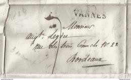 LETTRE ANCIENNE 1824 / MARQUE POSTALE < VANNES - BORDEAUX - Autres Collections
