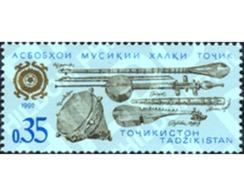 Ref. 314894 * MNH * - TAJIKISTAN. 1992. INSTRUMENTOS DE MUSICA FOLKLORICA - Tajikistan