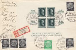 Deutsches Reich,  Block 9 Und Zusatzfrankatur Auf Einschreiben Aus Weingarten Nach Basel; Mi. 250,-- - Deutschland