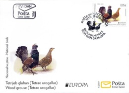 2019 FDC, Fauna, Europa National Birds, Tetrao Urogallus, Montenegro, MNH - Montenegro
