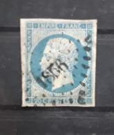 Empire No 14 Nuance BLEU CLAIR  Obl Pc 1856 De MANSLE , Charente,  Indice 4 ,TB - 1853-1860 Napoléon III