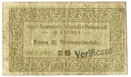 25 CENTESIMI FIDUCIARIO SOCIETÀ COMMERCIANTI INDUSTRIALI RIVOLI BB- - [ 1] …-1946 : Royaume