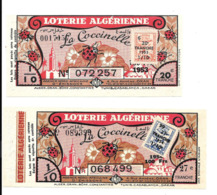 KB182 - LOTERIE ALGERIENNE - BILLETS LA COCCINELLE - Billets De Loterie