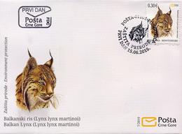 2019, FDC, Balkanski Ris, Lynx Lynx Martinoi, Animals, Montenegro, MNH - Montenegro