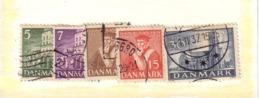 DANEMARK 1938 EGLISES  YVERT N°241/45 OBLITERE - 1913-47 (Christian X)