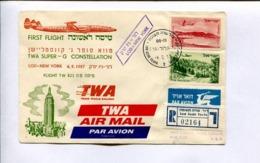 FIRST FLIGHT - TWA SUPER-G CONSTELLATION, LOD-NEW YORK 6.9.1957. ISRAEL RARE AIR MAIL REGISTRED - LILHU - Luchtpost
