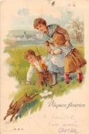 PAQUES   LAPIN   ENFANTS  CARTE PIONNIERE - Pâques