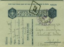 CARTOLINA PER LE FORZE ARMATE - COMANDO DIVISIONE ARIETE - POSTA MILITARE 132 - VERIFICATO PER CENSURA BN (BG4516) - 1900-44 Vittorio Emanuele III