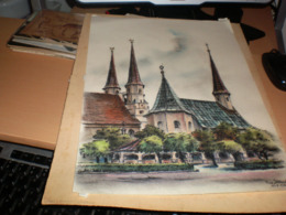 Old Pastels Big Format Church??? 1966 Feid Illbrecht ??????? - Pastelli