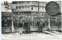 Grève Des Cheminots De L'Ouest Etat 1910 Police Gardant Issues Gare St Lazare Occupée Militairement * Collection E.S. - Grèves