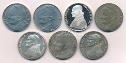 7db-os Vegyes Külföldi Egyházi Témájú Emlékérem, Közte Olaszország DN 'II. János Pál Pápa / Czestochowa' (2x) Ezüstözött - Munten & Bankbiljetten