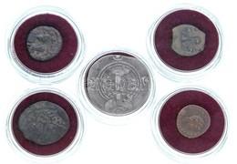 5db Klf ókori érme, 'Az Igazi Kereszt Nyomában' Dísztokban, Tanúsítvánnyal, Benne Pontius Pilatus Br Prutah, Heléna AE15 - Munten & Bankbiljetten