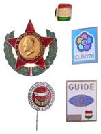 5 Db-os Kitűző és Jelvény Tétel, Közte 'Guide 3501', 'Közlekedési Dolgozók Szakszervezete' T:1- - Munten & Bankbiljetten