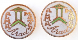 Románia DN 'Arad - Alma Mater' Zománcozott Aranyozott Jelvény (2x) (30mm) T:2 Romania ND 'Arad - Alma Mater' Enamelled,  - Munten & Bankbiljetten
