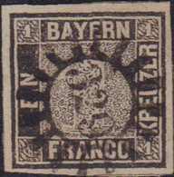 1849, 1 Kreuzer Schwarz, Platte 1, Entwertet Mit Geschlossenem Mühlradstempel '329' (Starnberg), Zeitlicher Stempelabsch - Germania