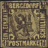 1861, 1 1/2 Schilling,vollrandig Mit Schwarzem Balkenstempel, Alte Signatur Rückseitig - Alemania