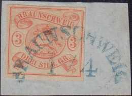 1852, 3 Silbergroschen Auf Briefstück, Blauer Halbkreisstempel Braunschweig 1/4, Dekorativ - Germania