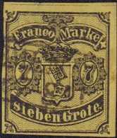 1856, 7 Grote, Schwarz Auf (mittel)rötlichgelb, Geschnitten, Mit Schwarzem Rahmenstempel (KS 112) (BR)EMEN (....) * 7-8A - Germania