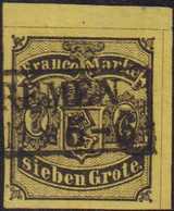 1856, 7 Grote, Schwarz Auf (mittel)rötlichgelb, Geschnitten, Sauber Waagrecht Entwertet Mit Schwarzem Rahmenstempel (B)R - Germania