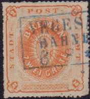 1863, 2 Grote, Orange, Durchstich D 2, Entwertet Mit Blauem Rahmenstempel VEGES(ACK) BAHNH(OF) 6 8 * (..). Die Farbfrisc - Germania