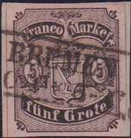 """1862, 5 Grote Schwarz Auf Hellkarmingrau, Durchstich D1 II, Mit Schwarzem Rahmenstempel BREMEN (.)0 4 * 5-6"""", übergehend - Alemania"""
