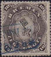 """1863, 10 Grote, Schwarz, Durchstich D1 I, Mit Blauem Rahmenstempel (KS 167) BREM(EN) Bahnh(of.)"""". Farbfrisch, Allseits S - Germania"""