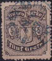 1867, 5 Grote, Schwarz Auf Mattgraubraun Bis Mattkarmingrau, Type I, Gezähnt, Mit Blauem Einkreisstempel (KS 208) BREMEN - Alemania