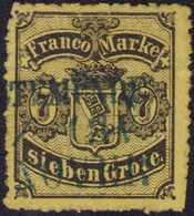 1867, 7 Grote, Schwarz Auf Hell- Bis Mittelrötlichgelb, Gezähnt, Mit Blauem Dreizeiligem Bahnpoststempel (GEES)TEMÜNDE ( - Germania