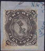 """1867, 10 Grote, Schwarz, Gezähnt, Auf Bläulichem Briefstück, Mit Blauem Einkreisstempel (KS 208) BREMEN-(BAHNF.) 6 7 67"""" - Germania"""