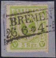 1865, 5 Silbergroschen, (dunkel)gelbgrün, Durchstich D1 I, Auf Briefstück, Mit Schwarzem Rahmenstempel (KS 120) BREMEN 2 - Germania