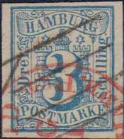 1859, 3 Schilling, Dekorative Stempelkombination Mit Feinem Vierstrichstempel Und Rotem US-Einkreisstempel - Germania