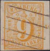 1859, 9 Schilling, Feiner Vierstrichstempel, Breitrandig Mit Bogenrandnummer 10, Prachtstück - Alemania