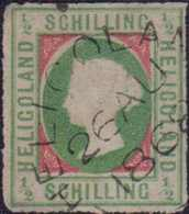 """1867, 1/2 Schilling Dunkelbläulichgrün/karmin, Kopftype I, Mit Rundstempel Type I, HELIGOLAN(D) 26 AU 1868"""". Farbfrische - Germania"""