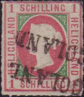 """1867, 1 Schilling Rosakarmin/dunkelgrün, Durchstochen, Mit Doppelt Abgeschlagenem Langstempel Type I, (HEL)GOLAND"""". Farb - Alemania"""