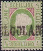 1872, 1/2 Schilling Grünoliv/karminrot, Gezähnt, Mit Langstempel Type I (HE)LIGOLAN(D). Die Farbfrische Marke Ist Tadell - Germania