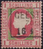 """1867, 1 Schilling Rosakarmin/dunkelgrün, Gezähnt, Mit Dreizeiligem Rahmenstempel GEEST(MUENDE) ZOLL(VEREIN) 16 (.....)"""". - Germania"""