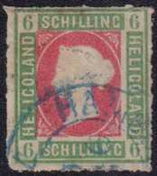 """1867, 6 Schilling, (dunkel)graugrün/lilarosa, Durchstochen, Mit Blauem Zweikreisstempel HAMBU(RG) ST.P.) 9 (....)"""". Ecke - Germania"""