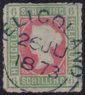 """1867, 6 Schilling, (dunkel)graugrün/lilarosa, Durchstochen, Mit Rundstempel Type I HELIGOLAND 26 JU 1873"""". Marke Is L - Germania"""