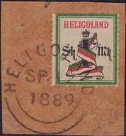 1879, 1 Sh. / 1 M., Dunkelgrün/schwarz/karmin, Gezähnt, Auf Braunem Briefstück, Mit Rundstempel Type V HELIGOLAND OC SP  - Germania