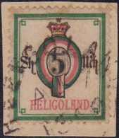 1879/89, 5 Sh. / 5 M., Auf Kleinem Briefstück, Stempel Teils Doppelt Abgeschlagen, Dadurch Nicht Sicher Prüfbar, Leicht  - Germania