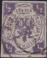 """1859, 1/2 Schilling Dunkelviolettgrau, Leicht Und Zentrisch Entwertet LUEBECK 10 / 1"""", Farbfrisch, Voll- Bis Breitrandig - Germania"""