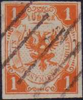 1859, 1 Schilling Schwärzlichorange, Entwertet Mit Schwarzem Strich-Stempel Des Stadtpostamtes, Farbfrisches Und Breitra - Alemania
